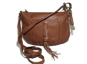 4ea357fc7ae Image is loading LUCKY-BRAND-Crossbody-Bag-LEATHER-Brown-Fringe-Shoulder-