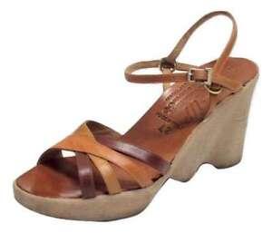 d543734a50a Vintage 70 s Women Hi-up Famolare Wedge Platform Shoes Hippie Disco ...
