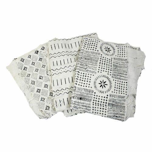 Handwoven African Mud Cloth BambaraAfrican Fabrics White//Black