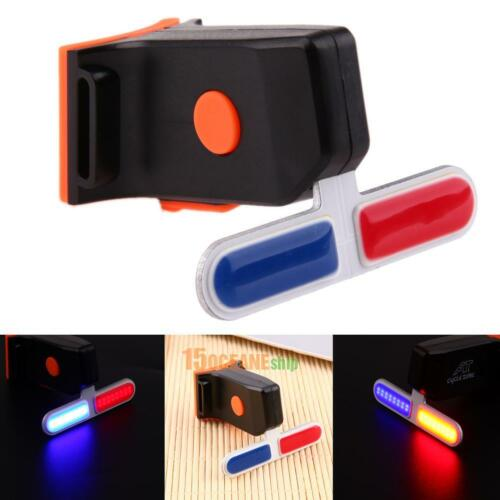4 Modes Bicycle Police LED Light Bike Cycling Tail Lamp USB Rechargeable Warning