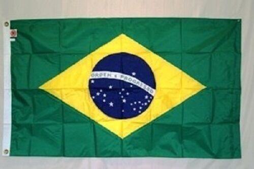 5x8 Embroidered Sewn Brazil Nylon Flag 5/'x8/' Banner grommets