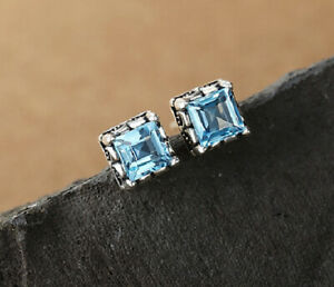T09 Boucles D'Oreilles Carré Topaze Bleu Clair 925 Argent Sterling