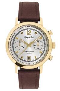 Gigandet Tramelan Herrenuhr Chronograph Datum Lederarmband Braun Gold NEU