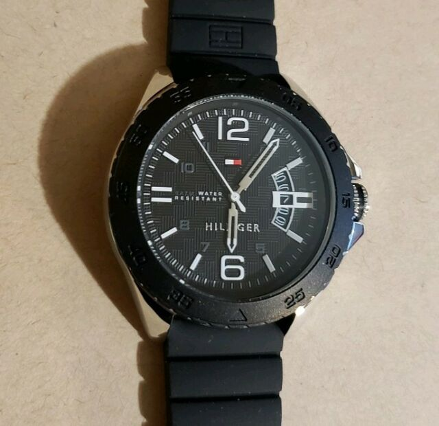 f41135282 Tommy Hilfiger Cody Sports Watch With 46mm Black Face & Black Silicone Band