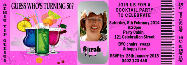 SCRATCH OFF TICKET STYLE BIRTHDAY INVITATIONS 21st 30th 40th 50th ANY AGE