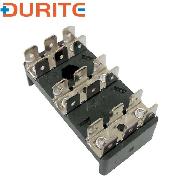 25A 3 x 6-Way Bus Bar with 6.3mm Common Plated Brass Blade Terminals
