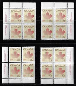 Canada-Stamps-Set-of-4-Corner-Blocks-1982-Maple-Leaf-924-MNH