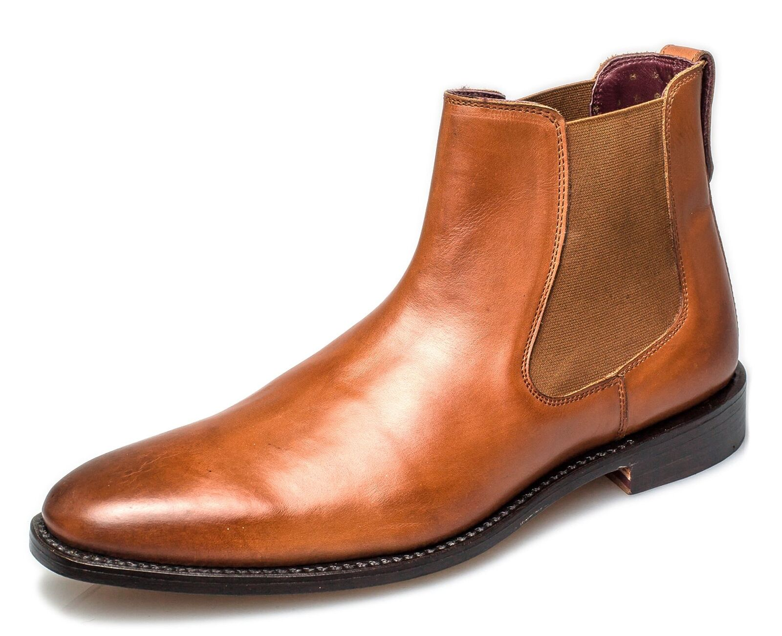 London Brogues Harvey Mens Leather Leather Leather Sole Chelsea Boots Tan a4d084