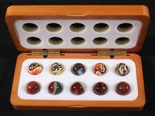 "10 JABO JOKER l AND JOKER 2 RUN 3/4"" MARBLES IN JOKER OXBLOOD SERIES WOOD BOX"