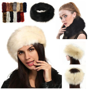 mens winter hat neck fur faux headband scarf russian artificial