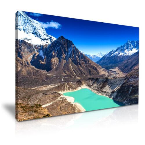 Sky Lake Himalaya Mountain Nepal Canvas Wall Art Picture Print 76x50cm
