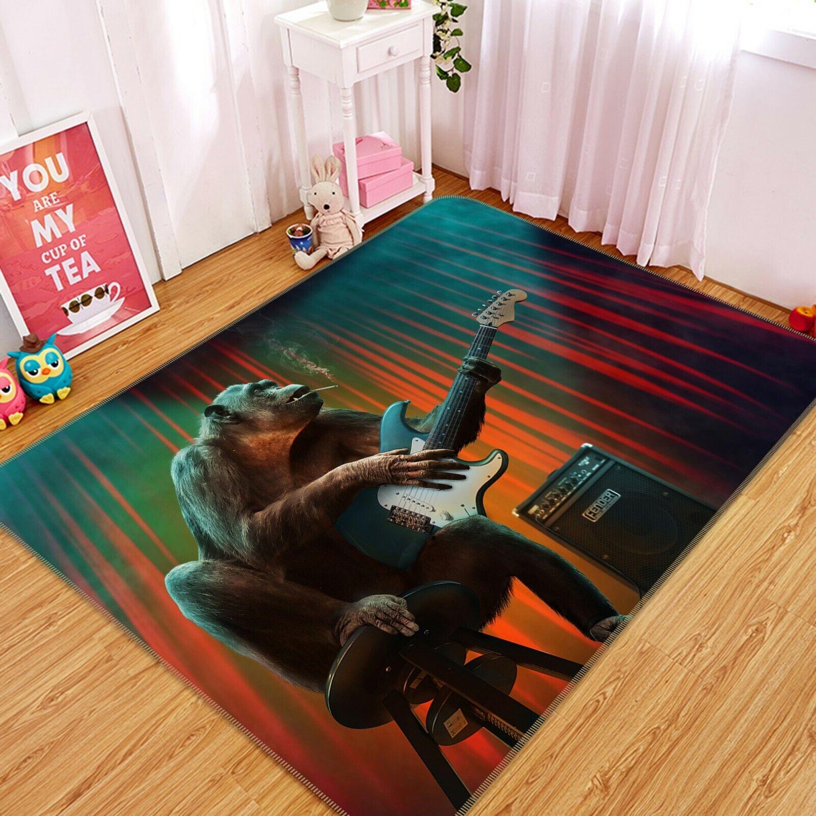 3d Gorilla a082 MUSICA GIOCO ANIMALI antiscivolo tappeto elegante foto TAPPETO Wendy