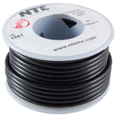 Hook-up Wire 18AWG SOLID PVC 100ft SPOOL BLACK