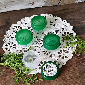 20-Tiny-Seed-Bead-GREEN-cap-JAR-storage-container-herb-pot-spice-Small-Findings