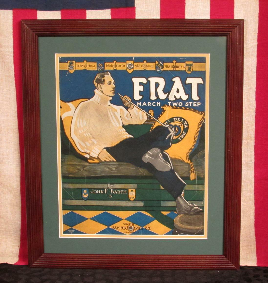 Vintage 1910 Frat March College Fraternity Sheet Music Book Antique Framed Nice