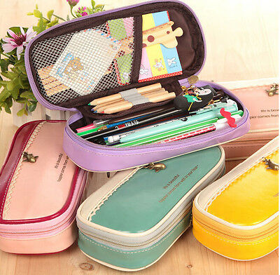 Cute Student Pencil Pen Case Box Cosmetic Pouch Pocket Brush Holder Makeup Bag