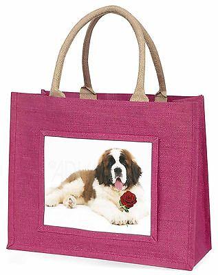 Bernardiner Hund mit rote Rose Große Rosa Einkaufstasche Weihnachten Vor,