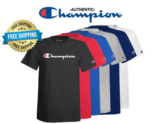 Champion-Mens-Classic-Jersey-Script-Logo-T-Shirt-Brand-New-Various-Sizes