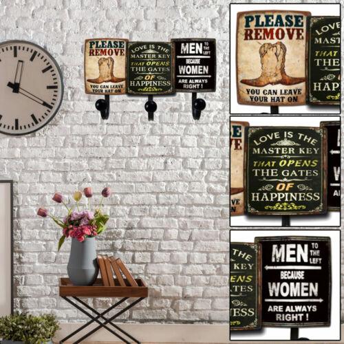 Vintage Holz Wand Garderoben Metall Flur Kleider Haken Landhaus Stil Aufhängung