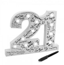 21st Birthday Gift Wooden Light Up Sign LED Signature Block Boxed New SALE SALE