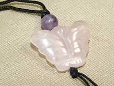 Vintage Hand Carved Rose Quarts Genstone Butterfly Pendant Necklace