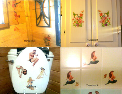 Waterslide Decal Sticker Pinup Girl Blond Marilyn sitting on Guitar