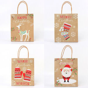 Christmas-Pattern-Kraft-Paper-Bags-With-Handle-Xmas-Party-Candy-Cookie-Gift-Bags