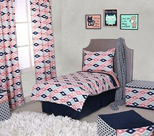 Details About Toddler Bedding Set Aztec Coral Mint Navy 4 Piece Kids Girl Comforter Sheets New