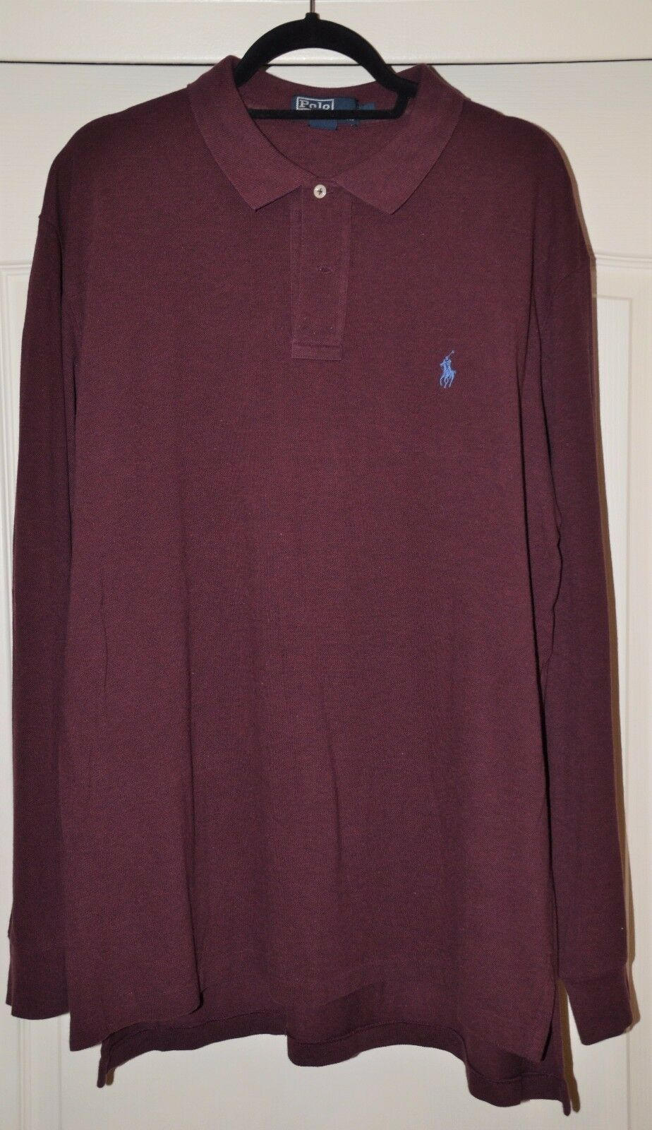 Polo Ralph Lauren Men's Size XL Long Sleeve Deep Red Heather Polo