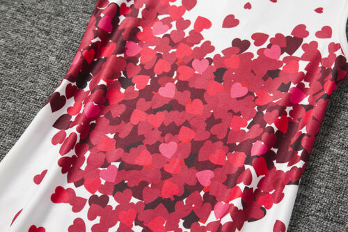 New Childrens Girls White Sundress Valentines Day Red Heart Casual Dress ZG8