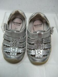 Pediped-Girls-Toddler-Sandals-Size-5-5-Metallic-Silver-18-O