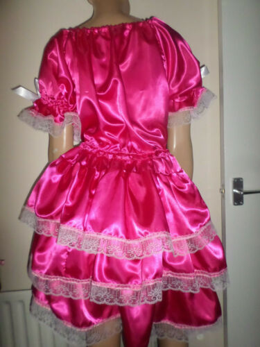 """ADULT BABY SISSY DEEP PINK SATIN PRETTY FRILLY RUFFLE DRESS 52/""""  PUFFED SLEEVES"""