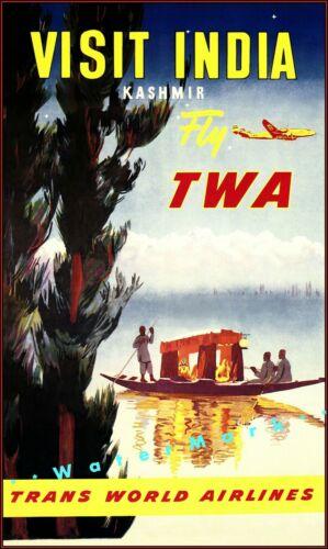 Visit India 1951 Shikara Boat TWA Air Travel Vintage Poster Print Retro Advert