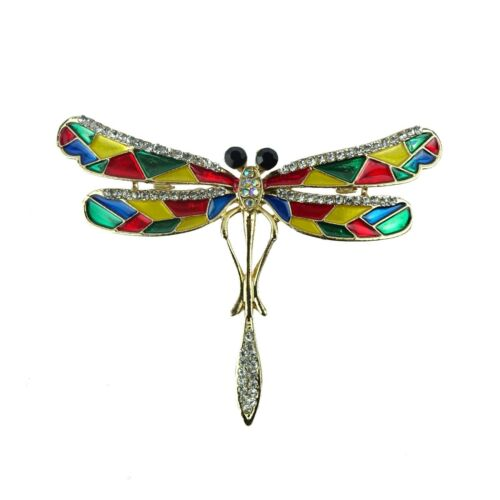 5cm//2.2 Inches Enamel and Diamante Dragon Fly Pin Brooch
