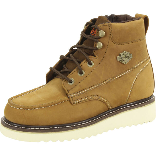 Beau Tan Wedge Work Boots Shoes D93136