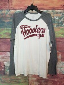 NEW-Indiana-Hoosiers-IU-Vintage-Style-Retro-Long-Sleeve-TShirt-Gray-Ivory-NCAA