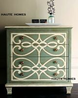 Horchow French Scroll Paint Green Drawer Chest Cabinet Buffet Sideboard