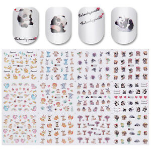 12patterns Water Decal Nail Art Transfer Sticker Big Sheet Animal