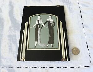 Reverse-Painting-Frame-Glass-Vintage-Black-Silver-Mid-Century-Art-Deco-Two-Women
