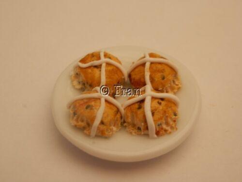 Casa De Muñecas alimentos placa de Pascua Hot Cross Bollos-por Fran