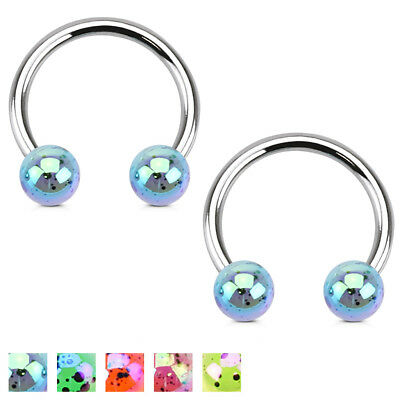 Pair of CZ Ball Horseshoe Circular Barbells Ring Septum Tragus Lip Piercing 16G