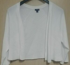 Torrid White Open Knit Front Cardigan Sweater 3/4 Sleeve Size 2X