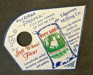 WHITE RABBIT SOFT WHEAT FLOUR PAINTED POT PAN SCRAPER Rare Old Advertising Sign