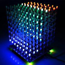DIY Square 3D Light Cube Kit 8x8x8 Red Green Blue LED MP3 Music Spectrum Board