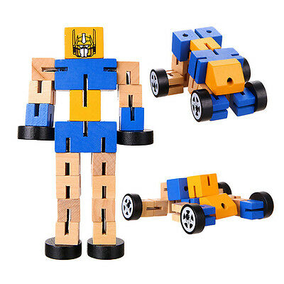 1 Pc Montessori Wooden Transformers Robot Action Figures Educational Kids Toys