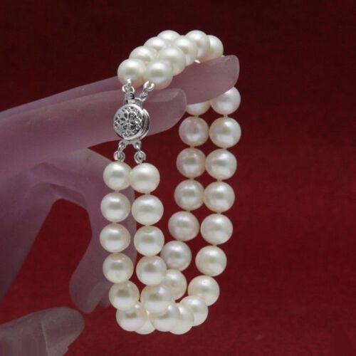 """Fashion 7-8 mm Real White Akoya Cultured Pearl Fleur fermoir Bracelet Jonc 7.5/"""""""