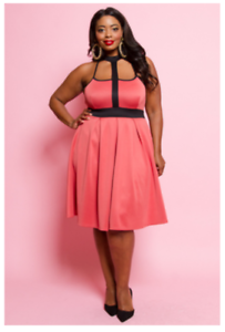 Details about PLUS SIZE MOCHA CORAL SLEEVELESS CAGE COLLAR PLEATED A-LINE  FLOWY DRESS 1X 2X 3X