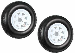 2-Pk-Trailer-Tire-Rim-ST205-75D14-2057514-F78-14-14-LRC-5-Lug-White-Spoke-Wheel