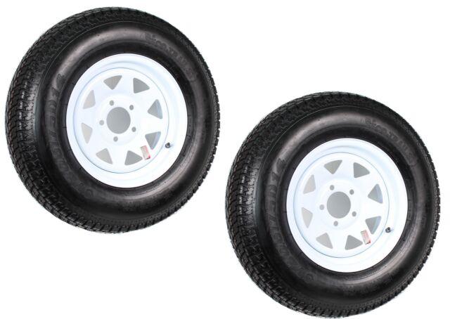 Two Trailer Tires Rims ST205/75D14 2057514 F78-14 14 in. LRC 5 Lug White Spoke