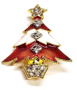 Christmas-Tree-Pin-Red-and-White-Enamel-Gold-Tone-Clear-Rhinestones-Brooch